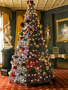 Bilder Neujahr Weihnachtsbaum Kugeln Lichterkette