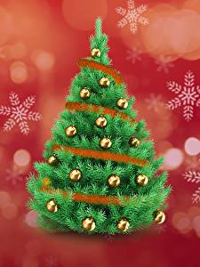 Hintergrundbilder Neujahr Weihnachtsbaum Kugeln Schneeflocken