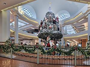 Fotos Neujahr Weihnachtsbaum Weihnachtsmann Lichterkette Zaun Ast