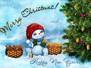 Hintergrundbilder Neujahr Tannenbaum Schneemänner Weidenkorb Wort Englische Schnee