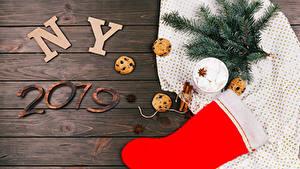 Fotos Neujahr Zimt Kekse Sternanis Bretter 2019 Ast Stiefel Kugeln Marshmallow das Essen