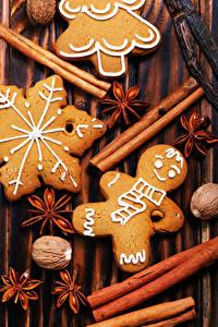 Bilder Neujahr Zimt Sternanis Kekse Walnuss Lebensmittel