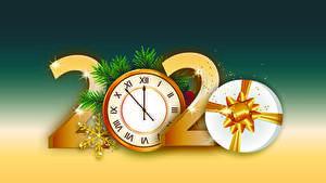 Fotos Neujahr Uhr 2020 Geschenke Schneeflocken
