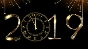 Picture New year Clock Black background 2019