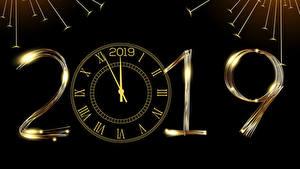 Fotos Neujahr Uhr Schwarzer Hintergrund 2019