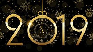 Fotos Neujahr Uhr Schwarzer Hintergrund 2019 Schneeflocken