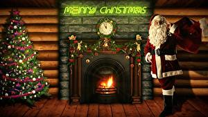 Photo New year Clock Fire Fireplace English New Year tree Santa Claus Present Beard Eyeglasses