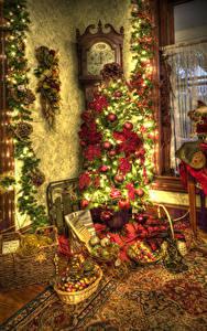 Papel de Parede Desktop Ano-Novo Relógio HDRI Árvore de Natal Bolas Luzes de Natal