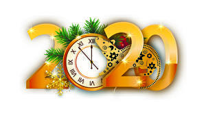 Pictures New year Clock Mice White background 2020 Branches