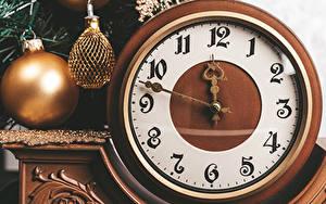 Hintergrundbilder Neujahr Uhr Zifferblatt Kugeln