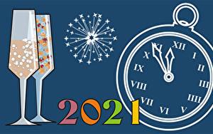 Hintergrundbilder Neujahr Zifferblatt Feuerwerk 2021 Weinglas
