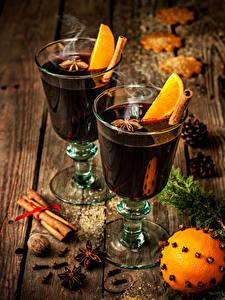 Hintergrundbilder Neujahr Cocktail Zimt Sternanis Schalenobst Apfelsine Bretter Weinglas Lebensmittel