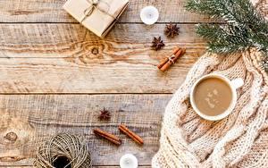 Fotos Neujahr Kaffee Zimt Ast Tasse Geschenke Schachtel