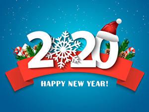 Hintergrundbilder Neujahr Farbigen hintergrund 2020 Mütze Schneeflocken Englischer