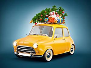Hintergrundbilder Neujahr Farbigen hintergrund Tannenbaum Geschenke Autos