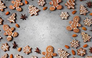 Hintergrundbilder Neujahr Kekse Mandeln Vorlage Grußkarte das Essen