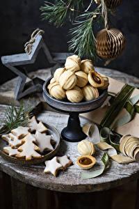 Bilder Neujahr Kekse Ast Design Weihnachtsbaum Kleine Sterne das Essen