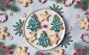 Hintergrundbilder Neujahr Kekse Weihnachtsbaum Schneeflocken das Essen