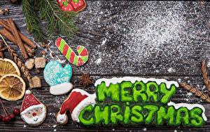Bilder Neujahr Kekse Zimt Puderzucker Bretter Englisches Text Design Handschuh Weihnachtsmann Mütze