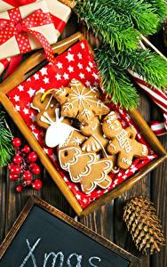 Bilder Neujahr Kekse Design Zapfen Ast Lebensmittel
