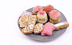 Fotos Neujahr Kekse Weißer hintergrund Design das Essen