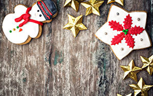 Bilder Neujahr Kekse Bretter Design Schneemänner Stern-Dekoration Vorlage Grußkarte das Essen