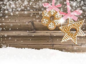 Bilder Neujahr Kekse Bretter Schnee Schleife 2 Vorlage Grußkarte das Essen
