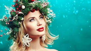 Picture New year Creative Blonde girl Glance Branches Balls Red lips Makeup Model Face young woman