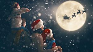 Hintergrundbilder Neujahr Hirsche Mutter Mond Schlitten Jungen Kleine Mädchen Mütze