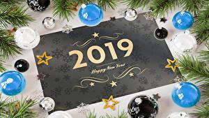 Hintergrundbilder Neujahr Englisch 2019 Kugeln Ast Stern-Dekoration Schneeflocken 3D-Grafik