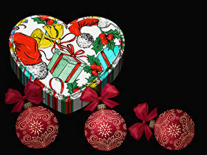 Picture New year Gifts Box Balls Black background