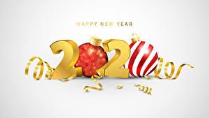 Fotos Neujahr Grauer Hintergrund 2020 Text Englischer Kugeln