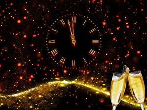 Papéis de parede Ano-Novo Feriados Champanhe Relógio Mostrador de relógio   Copo de vinho