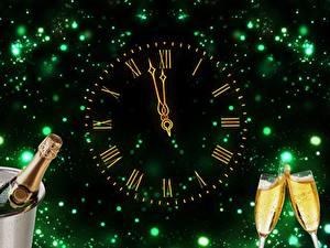 Papéis de parede Ano-Novo Feriados Vinho espumante Relógio Mostrador de relógio   Copo de vinho