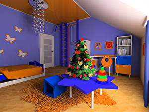 Pictures New year Interior Children's room Design Christmas tree Table Bed Chandelier 3D Graphics