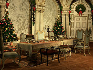 Pictures New year Interior Christmas tree Table Chairs Design 3D Graphics