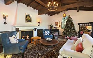 Fotos Neujahr Innenarchitektur Design Wohnzimmer Tannenbaum Sofa Sessel Kronleuchter Kamin