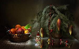 Hintergrundbilder Neujahr Mandarine Süßware Dauerlutscher Ast Kugeln Lebensmittel