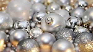 Fotos Neujahr Viel Nahaufnahme Kugeln Silber Farbe