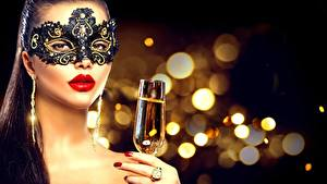 Picture New year Masks Blurred background Stemware Hands Makeup Face Red lips young woman