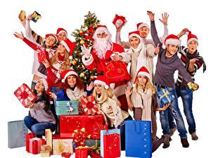 Hintergrundbilder Neujahr Mann Menschen Weißer hintergrund Weihnachtsmann Geschenke Hand Mütze Freude junge Frauen
