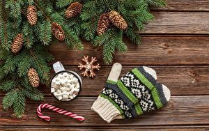 Hintergrundbilder Neujahr Fausthandschuhe Zapfen Marshmallow Bretter Ast