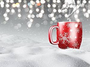 Desktop hintergrundbilder Neujahr Becher Schnee