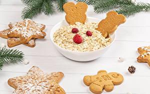 Fotos Neujahr Haferbrei Kekse Himbeeren Bretter Design Lebensmittel
