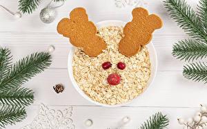 Fotos Neujahr Haferbrei Kekse Bretter Ast Kugeln das Essen