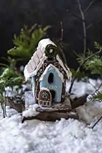 Hintergrundbilder Neujahr Backware Haus Design Schnee Gingerbread house das Essen