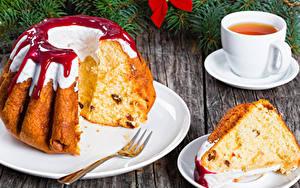 Fotos Neujahr Backware Keks Tee Konfitüre Stücke Tasse Lebensmittel