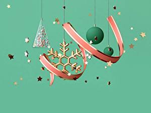 Fotos Neujahr Band Kugeln Schneeflocken Stern-Dekoration Farbigen hintergrund 3D-Grafik