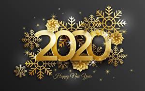 Hintergrundbilder Neujahr Schneeflocken Gold Farbe Text Englische 2020