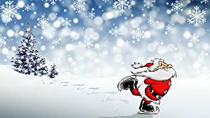 Bilder Neujahr Schneeflocken Weihnachtsmann Schlittschuh Bärtiger